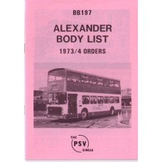 BB197 Alexander built to 1973 & 1974 orders