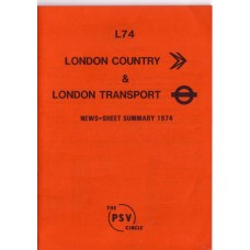 L74 London Country & London Transport News Sheet Summary 1974